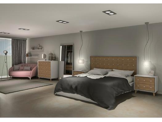 Tuesta Dormitorio Chester Roble Macizo Nordico Vintage Laca