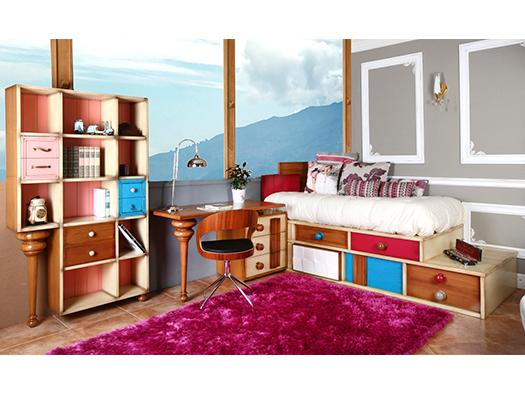 Tuesta Dormitorio Juevnil Albor Cerezo Laca Envejecida Conjunto 2
