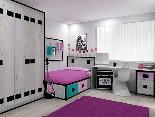 Tuesta Dormitorio Juvenil Rock Personalizado Pino Blanco Armario Independiente