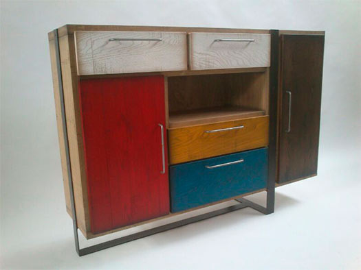 Tuesta Mueble Salon Colors Industrial Roble Vintage Diseo Aparador Ferro