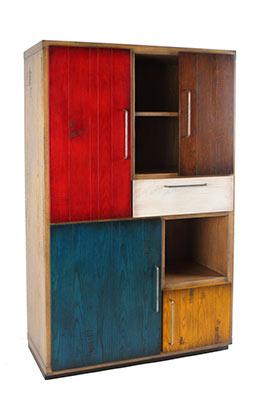 Tuesta Mueble Salon Colors Industrial Roble Vintage Diseo Vitrina