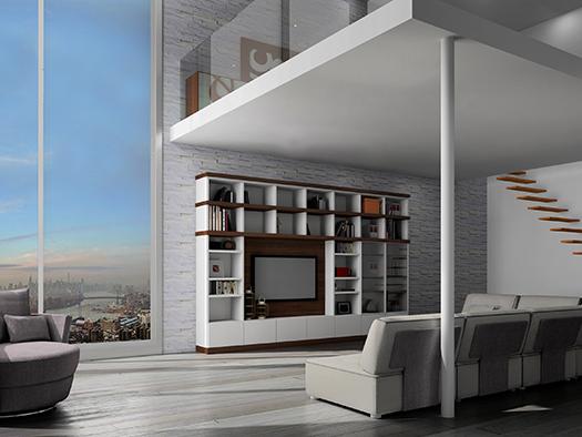 Tuesta Salon Nogal Almacenaje Moderno Mueble Television Tv Libreria ND18 Nd18 1