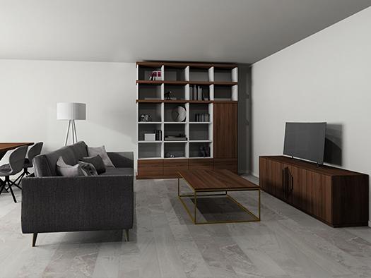 Tuesta Salon Nogal Almacenaje Moderno Mueble Television Tv Libreria ND18 Nd18 Mesa Centro